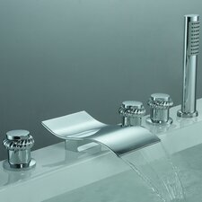 Triple Handle Deck Mount Watefall Tub Faucet with Handshower