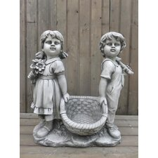 Boy and Girl Carrying Basket Statue