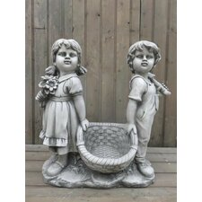Statue Boy and Girl Carrying Basket