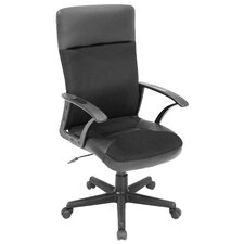 Imperial High-Back Leather & Fabric Swivel Executive Chair