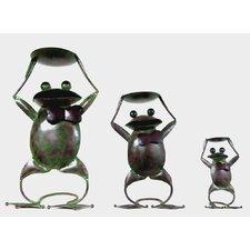 Frog 3 Piece Iron Candle Holder Set
