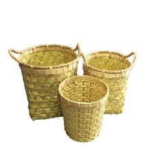 3 Piece Bamboo and Strapping Band Woven Basket Set