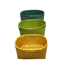 3 Piece Bamboo Oval Basket Set