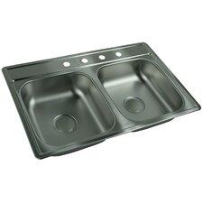 "33"" x 22"" 4 Hole Double Bowl Kitchen Sink"