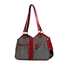 Petote Metro Espresso Dot Pet Carrier with Leather Trim