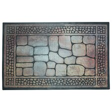 Pebbles and Border Printed Flock Doormat