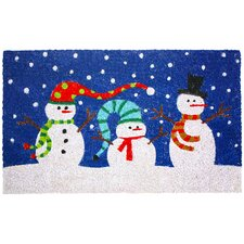 Christmas Snowmen with Hats Doormat