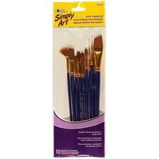 10 Piece Acrylic Brush Set