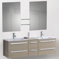 "60"" Modern Double Bathroom Vanity Set with Mirrors"