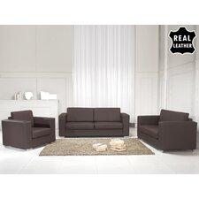 Helsinki European 3 Piece Leather Living Room Set