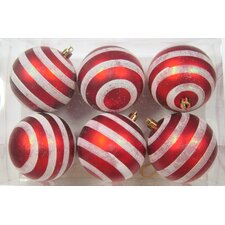 Red and White Ball Ornament with Line Design (Set of 6)