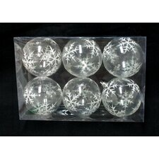 Clear Ball Ornament with Silver Glitter Snowflake (Set of 6)