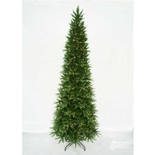 12' Slender Green Pine Artificial Christmas Tree with 2,226 LED Warm White Lights and Metal Stand