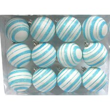 Ball Ornament with Line Design (Set of 12)