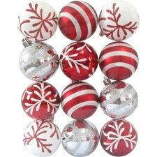 Red and White Ball Ornament with Snowflake and Line Glitter Design (Set of 12)