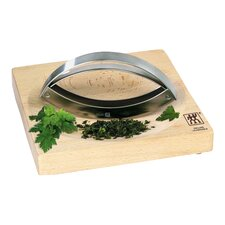 Stainless Steel Mincing Knife & Bamboo Herb Board Set