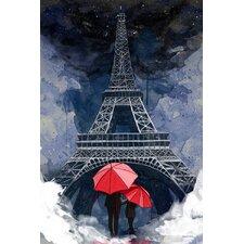 """Rainy Night in Paris"" Graphic Art on Canvas"