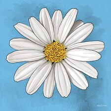 'White Daisy' Abstract Graphic Art on Wrapped Canvas