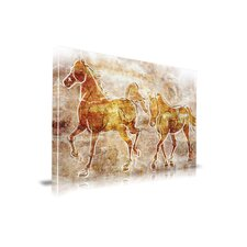 'Horses on the Wall' Contemporary Painting Print on Wrapped Canvas