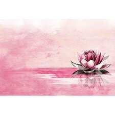 'Pink Lotus' Painting Print on Wrapped Canvas