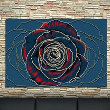 'Rose' Flower Graphic Art on Wrapped Canvas