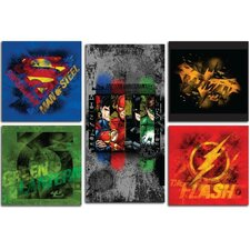 Justice League 5 Piece Graphic Art on Canvas Set