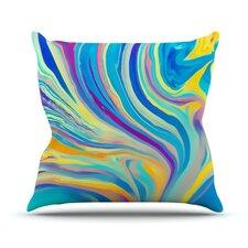 Rainbow Swirl Outdoor Throw Pillow