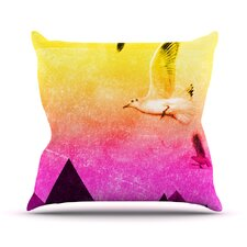 Seagulls in Shiny Sky Throw Pillow