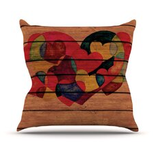 Wooden Heart Throw Pillow