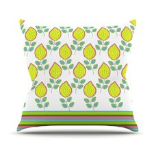 Leaves by Nandita Singh Bright Floral Throw Pillow
