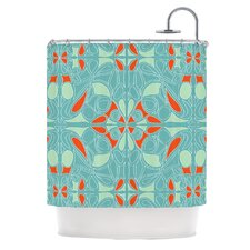 Seafoam and Orange Shower Curtain