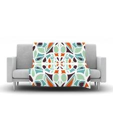 Stained Glass Orange Purple Throw Blanket