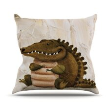 Smiley Crocodiley Throw Pillow