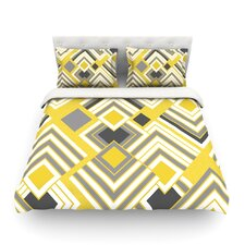 "Jacqueline Milton ""Luca - Gold"" Yellow Gray Featherweight Duvet Cover"