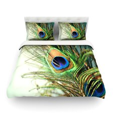 """Sylvia Cook """"Teal Peacock Feather"""" Featherweight Duvet Cover"""