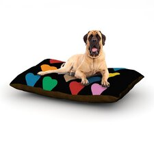 'Hearts Colour on Black' Dog Bed