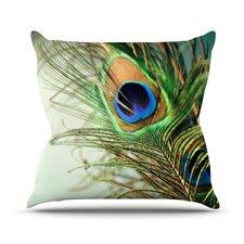 Peacock Feather Outdoor Throw Pillow