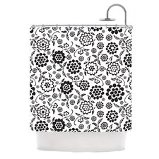 Cherry Floral White Shower Curtain