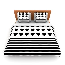 Heart Stripes Black and White by Project M Woven Duvet Cover