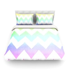 Water Color by Catherine McDonald Chevron Featherweight Duvet Cover