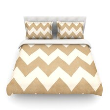 Biscotti and Cream Light by Catherine McDonald Chevron Featherweight Duvet Cover