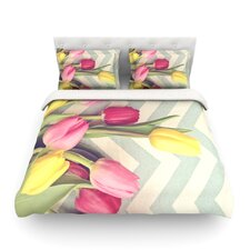 Tulips and Chevrons by Catherine McDonald Light Duvet Cover