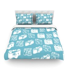 Camera Pattern by Featherweight Duvet Cover Size: King/California King, Color: Orange