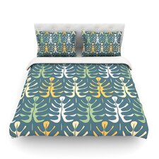 My Leaves on Blue by Julia Grifol Light Duvet Cover
