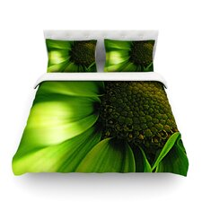Green Flower by Robin Dickinson Featherweight Duvet Cover