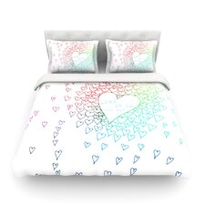Rainbow Hearts by Monika Strigel Light Cotton Duvet Cover