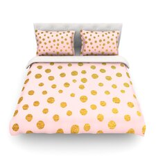 Golden Dots and Pink by Nika Martinez Featherweight Duvet Cover