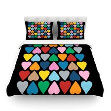 Up and Down Hearts on Black by Project M Duvet Cover