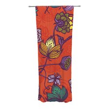 Garden Blooms Hot Orange Curtain Panels (Set of 2)