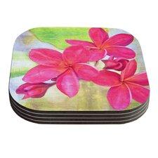 Plumeria by Sylvia Cook Flower Petals Coaster (Set of 4)